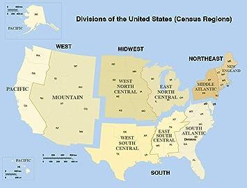 Amazon.com: Home Comforts Laminated Map - List US States Area ...