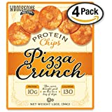 Protein Chips, 10g Protein, Gluten Free, Low Carbs, 4 Pack (Pizza Crunch)