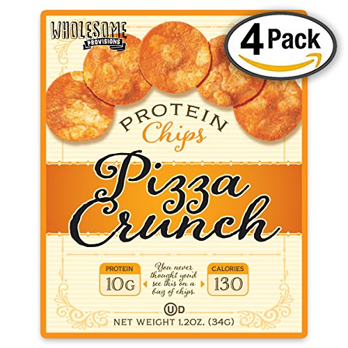 Protein Chips, 10g Protein, Gluten Free, Low Carbs, 4 Pack (Pizza Crunch) (Low Fat Pizza)