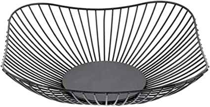 Vegetable and Home Decorative Items Metal Wire Fruit Basket Bowl for Kitchen Countertop Black Modern Large Square Storage Display Table Centerpiece for Fruit