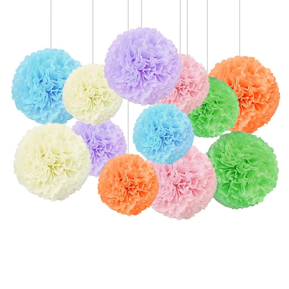 Zorara Papel Pom,【12 Piezas】Papel Pom Poms Flores Tissue Para fiestas de dormitorio 6 piezas * 33cm】 decoraciones de cumplea/ños【6 piezas * 26.7cm hoteles