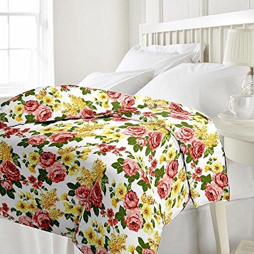 eCraftIndia Beautiful Flowers Single Bed Reversible AC Blanket