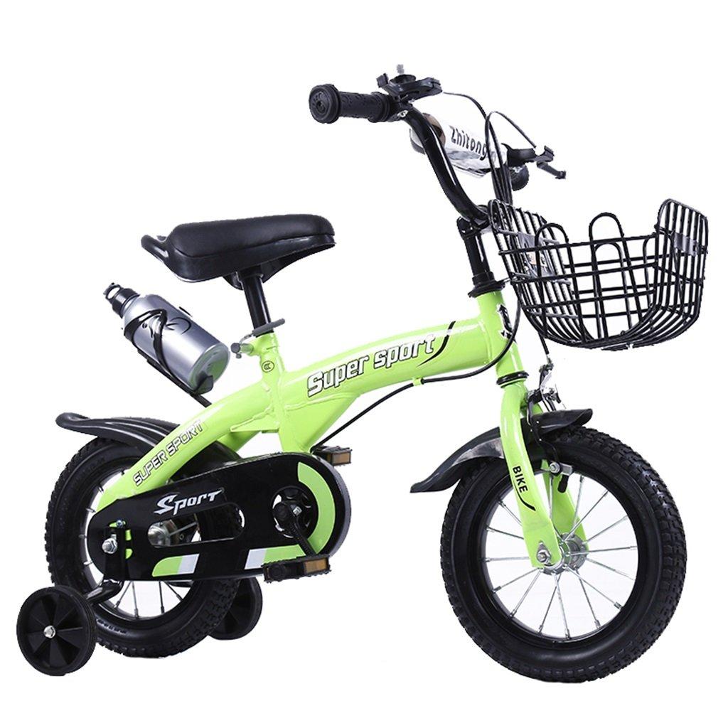 KANGR-子ども用自転車 子供用自転車アウトドアマウンテンバイク2-3-6-8ボーイズとガールズ子供用玩具調節可能ハンドルバー/トレーニングホイール付きサドルウォーターボトルとホルダー-12 / 14/16/18インチ ( 色 : 緑 , サイズ さいず : 16 inch ) B07BTSPDNP 16 inch|緑 緑 16 inch
