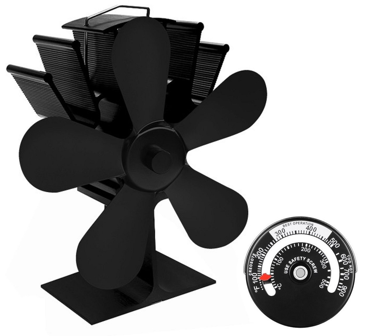 GRN Home Heat Powered Stove Fan with Magnetic Thermometer | 5 Blades - Aluminium Silent Eco-friendly for Wood Log Burner Fireplace