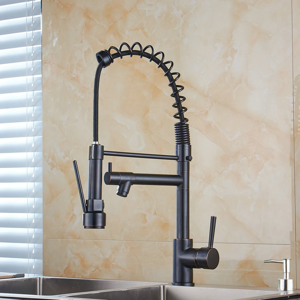 Ollypulse Solid Brass One Hole Deck Mount Kitchen Sink Faucet with Swivel Sprayer and Spout, Oil Rubbed Bronze Finish (Black) by Ollypulse