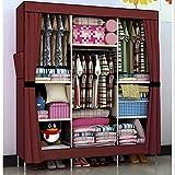 HHAiNi Portable Triple Bold Clothes Wardrobe Storage Steel Hanger Closet Armoire (Claret)