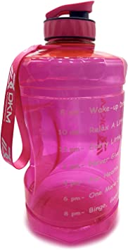 DKM 1 Gallon (128-OZ) Water Bottle Sports Water Bottle with Motivational Maker Reminder BPA Free and Leak Proof Sports Gallon Jug Water Bottle (Pink)