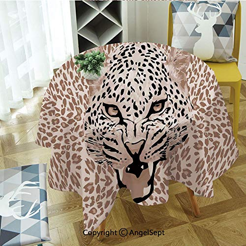 Round Tablecloth Roaring Leopard Portrait with Rosettes Wild African Animal Big Cat Graphic Polyester Washable Table Cover Kitchen Restaurant Party Decoration,Round - 63