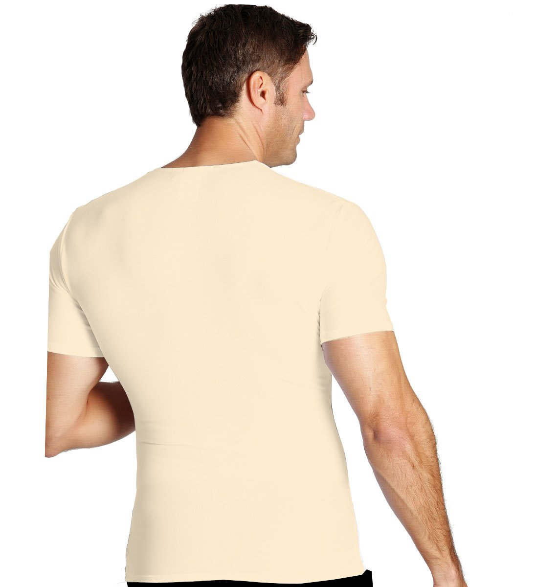 Insta Slim Men's Compression Crew-Neck T-Shirt (X-Large, Nude), The Magic Is In The Fabric! by Insta Slim (Image #3)