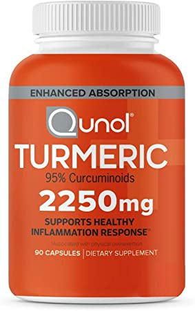 Qunol Turmeric Curcumin 2250mg, Black Pepper Extract for Enhanced Absorption, Supports Healthy Inflammation Response and Joint Health, Dietary Supplement, Vegetarian Formula, 90 Capsules