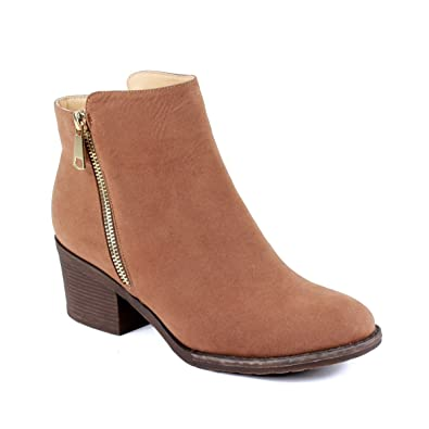 PAMA-01 Womens Fashionable Stacked Heels Ankle Booties - CAMEL