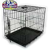 Matty's Pet Stop Folding Metal Dog Crate/Cage (24'' x 18'' x 21'') Single Door with Handle