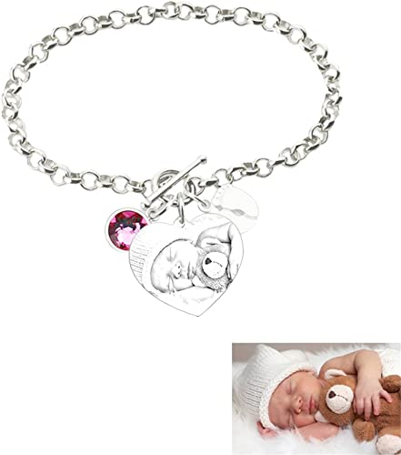 LanM Personalized Mother Bracelet for Son Custom Baby 1 with 2 Feet Mom Son Charm Bracelet with Simulated Birthstone
