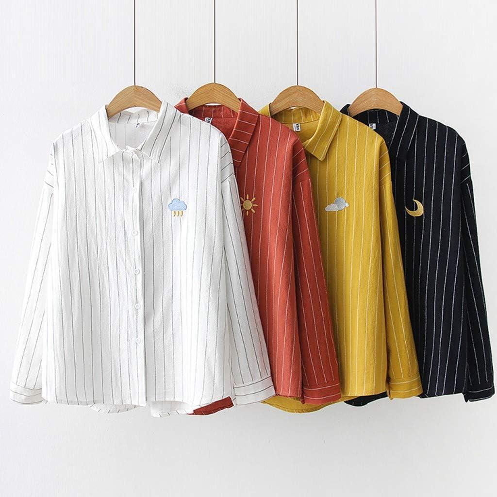 SMILEQ Camisa de Solapa a Rayas de Moda de Las Mujeres Top Impresión de Manga Larga Blusa Suelta: Amazon.es: Deportes y aire libre