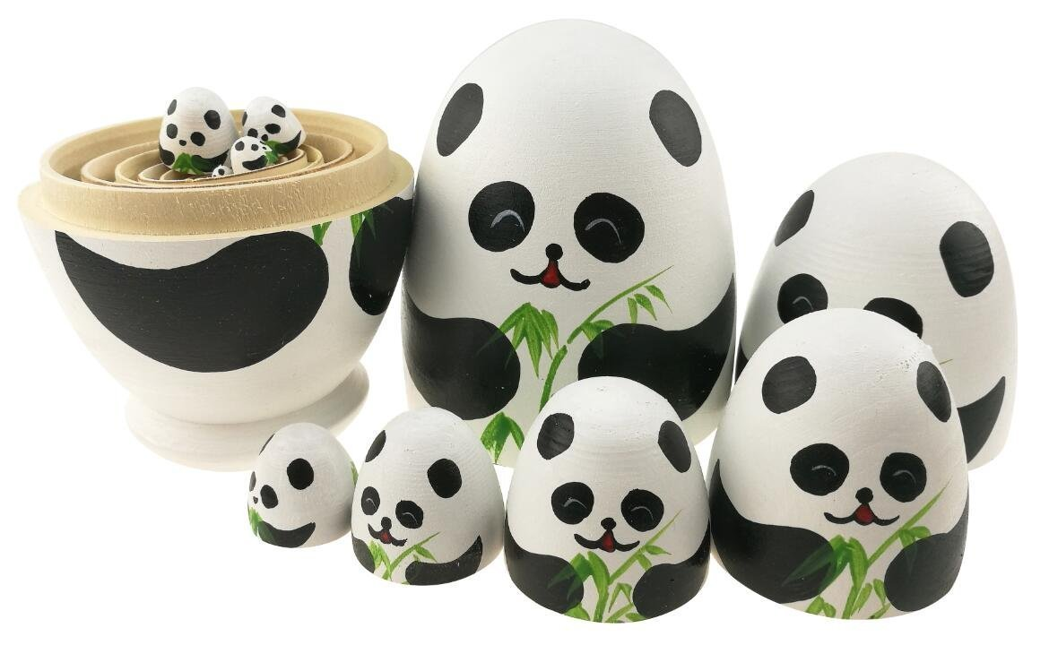 Apol Cute Panda With Bamboo Egg Shape Handmade Wooden Russian Nesting Dolls Matryoshka Doll Set 10 Pieces in a Exquisite Gift Box With Bow For Home Decoration Kids Toy Christmas Birthday Easter Gift by Apol (Image #6)
