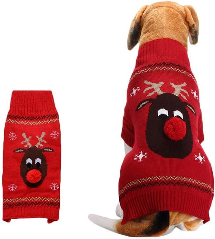 Snaked cat Jersey de Navidad para Mascotas, cálido, para Perro, Gato, Nariz, Ciervo, Ropa de Invierno
