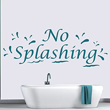 Kein Spritzen Von Wasser-tröpfchen Badezimmer Zitat Wandsticker ... Badezimmer Zitronengelb