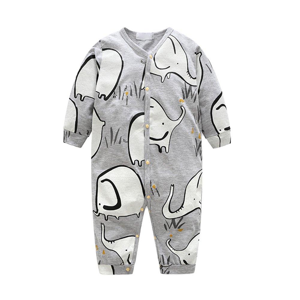 OuYou Recién Nacido Pijama Bebés Algodón Mameluco Niñas Niños Peleles Mono Trajes Patrón de Lindo Elefante Primavera y Otoño: Amazon.es: Ropa y accesorios