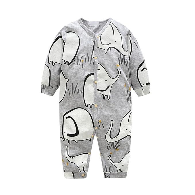 OuYou Recién Nacido Pijama Bebés Algodón Mameluco Niñas Niños Peleles Mono Trajes Patrón de Lindo Elefante