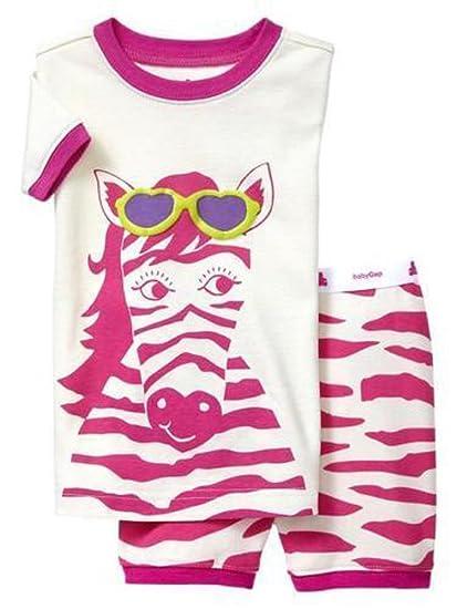 b473493e99d5 Amazon.com  Baby Gap Girls Pink White Zebra Two-Piece Shorts Pajamas ...