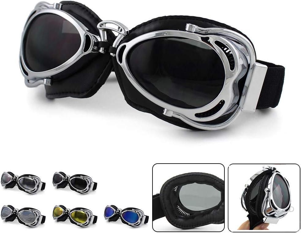 DFGDH Gafas de Moto Gafas De Moto Retro Vintage Casco Jet Ski Steampunk Gafas Moto Cross Piloto Gafas Cafe Racer