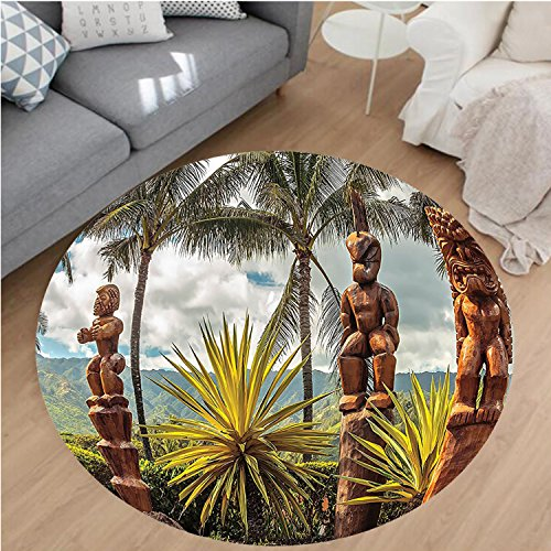 Green Primitive Tiki Mask (Nalahome Modern Flannel Microfiber Non-Slip Machine Washable Round Area Rug-land Ocean Hawaii Tiki Mask Art Pictures Fine Art ations Fabric Brown Mustard Green White area rugs Home Decor-Round 24