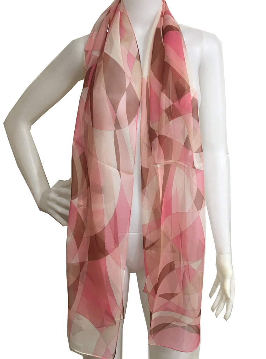 #SS53188040 Stream Line, Silk Long Scarf, Designed Stole of Silk Shiffon, Gift Cased (Grey) Tohyama Co. Ltd.