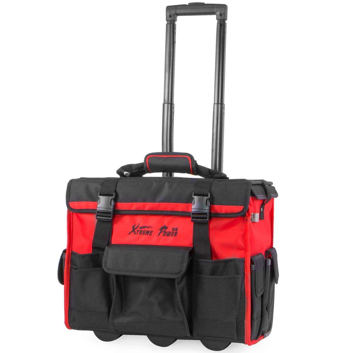 "XtremepowerUS Rolling Tool Bag Organizer with Telescoping Handle 18"" Wide Storage Organizer Bag Heavy Duty with Wheels"