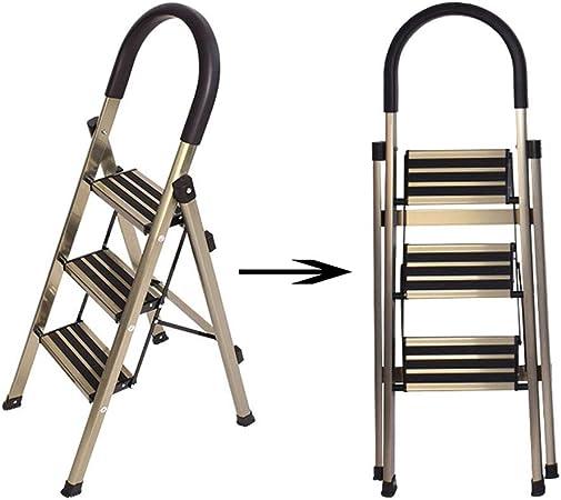 DZWSD Escaleras Plegables Aluminio 3 peldaños Ligeras portátiles Que ahorran Espacio,Pedal Ancho Antideslizante, Multiusos para el hogar, el Mercado y la Oficina (150 kg): Amazon.es: Hogar