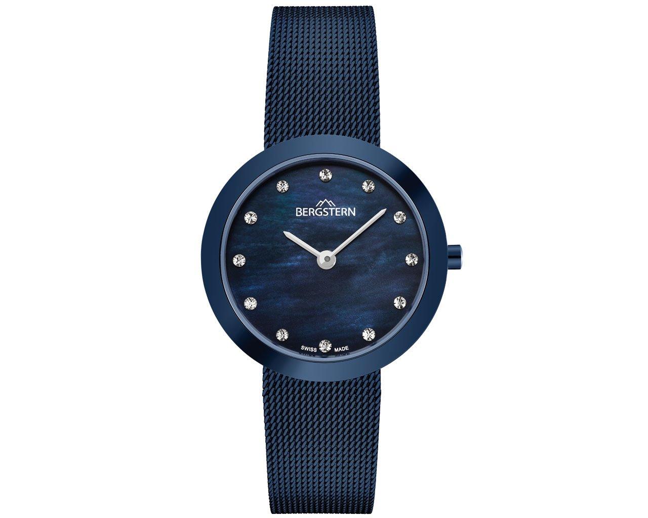 BERGSTERN BRILLANCE B044L211 Swiss Made women watch Steel Blue Color Bracelet, Swiss Movement and 3 years warranty.