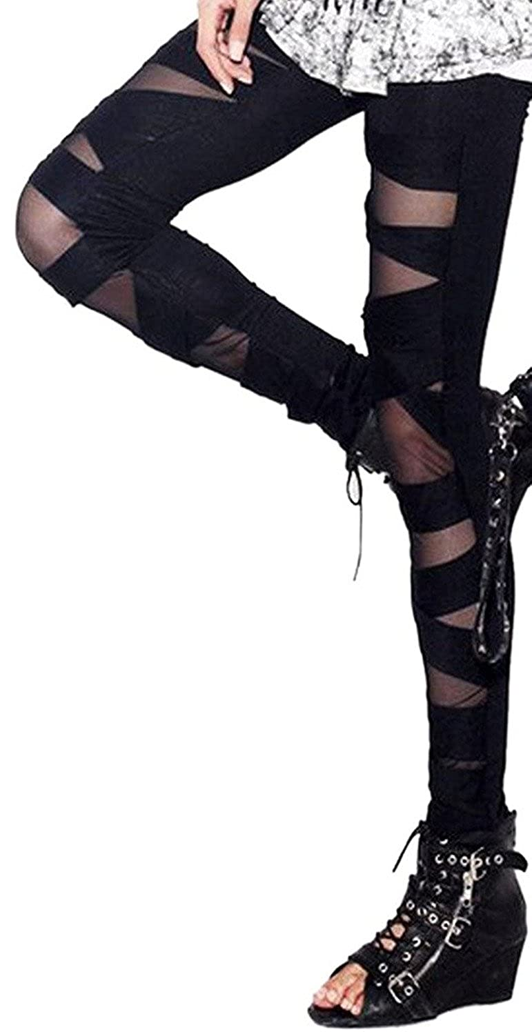 aae57ff5f7065 Sexy Stylish See-through Spliced milk silk Rock Gold Metallic Tight Pants  Leggings 85%Polyester+15%Spandex Size: One size, Leggings with slight  elastic, ...