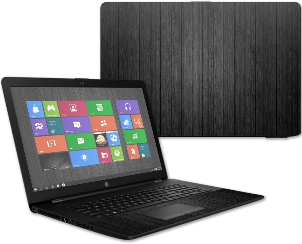 """MightySkins Skin Compatible with HP 17t Laptop 17.3"""" (2017) - Black Wood 