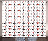 Poker Curtains by Lunarable, Symbols of Poker Game inside Rhombus Style Frames of Geometric Dots and Lines, Living Room Bedroom Window Drapes 2 Panel Set, 108 W X 84 L Inches, Grey Black Red