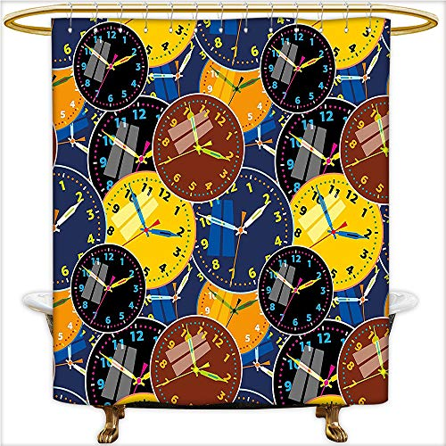 Square Clock Sydney (Qinyan-Home Shower Curtain Spa A Pattern with Clock Faces on It Vintage Illustration Ative Design for Yellow and Black. Waterproof and Anti-Mold Polyester Bathtub with 12 Hooks.W54 x H72 Inch)