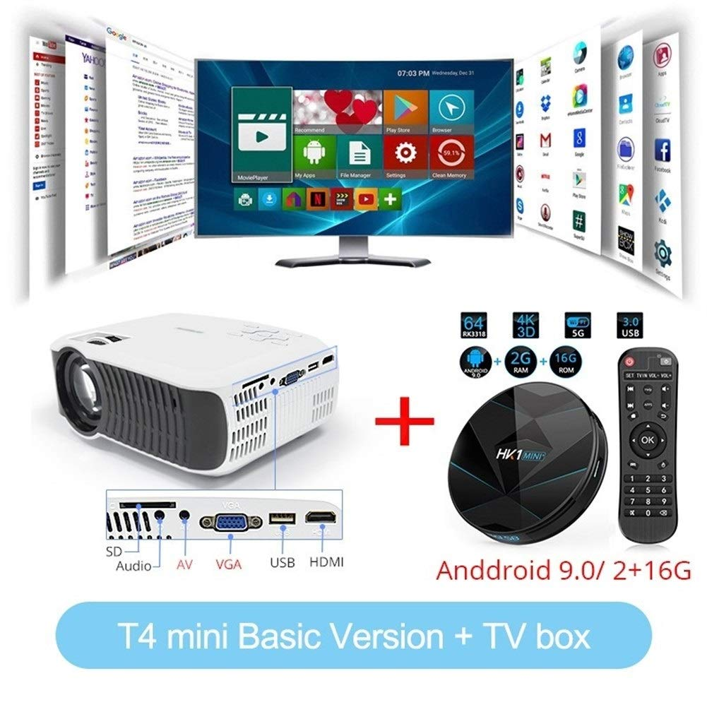 HD T4 Mini LED Proyector 1280x720 Portátil Beamer Home Cinema ...