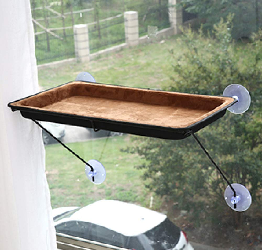 Brown LYJKJGS Cat Hammock Window-mounted Cat Perch Bed With Suction Cup Space Saving Hanging Nest Resting Seat Pet House Windowsill Hammock Large,Brown