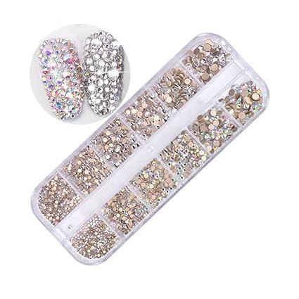 c4f3a1a8c150 Pure Vie 1440 piezas 3D Nail Glitter Pedrería para Uñas Decoración de Arte  de Uñas Diamantes Brillantes Preciosas de Acrílico #1