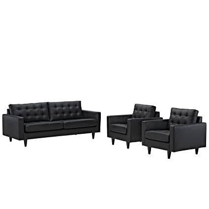 Modway EEI-1312-BLK Empress Mid-Century Modern Upholstered Leather Sofa and  Two Armchair Set Black