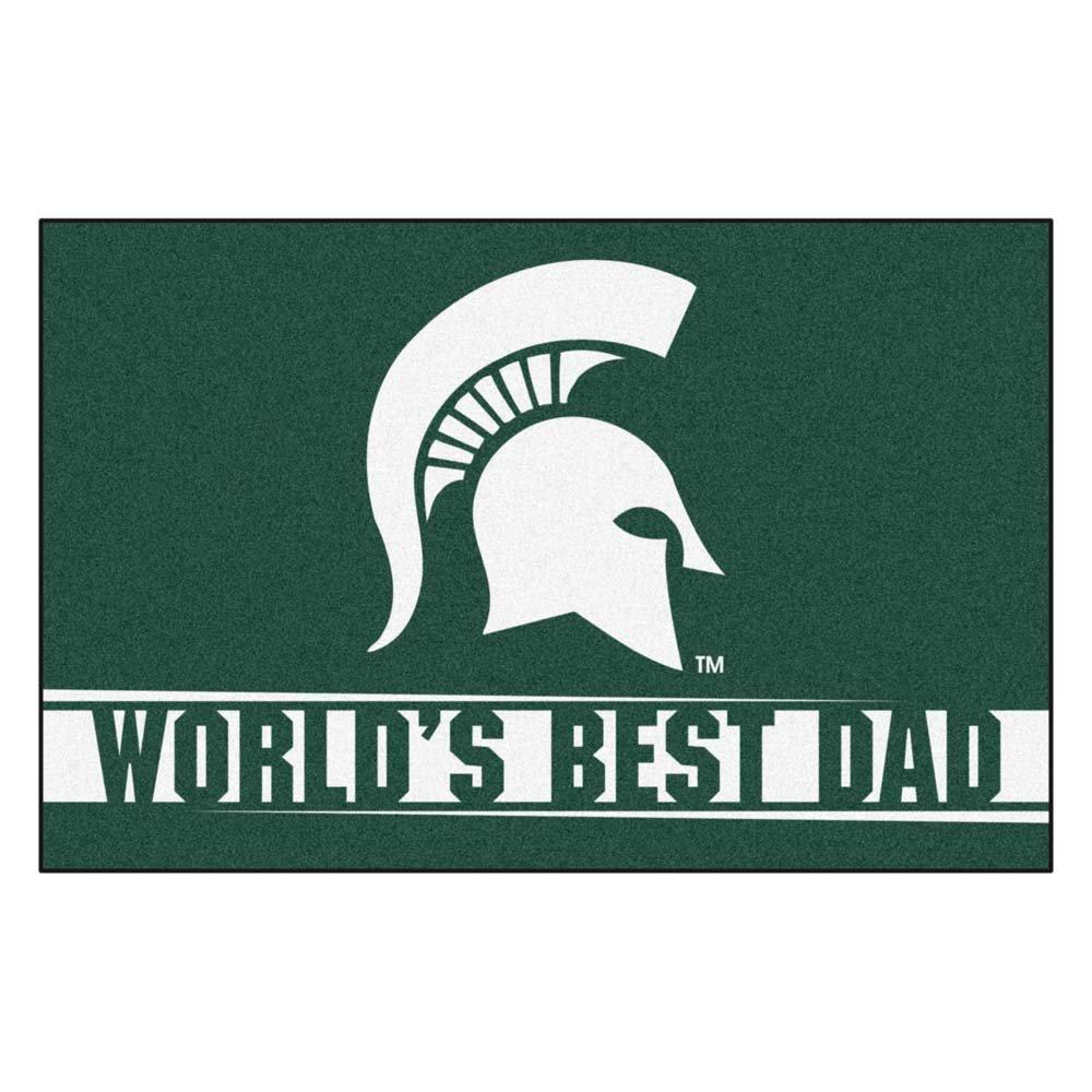 FANMATS 18210:Michigan State Worlds Best Dad Starter Rug 19x30