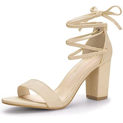 ae31d76a9bbb Allegra K Women s Chunky Heel Lace up Dress Beige Sandals - 5.5 ...