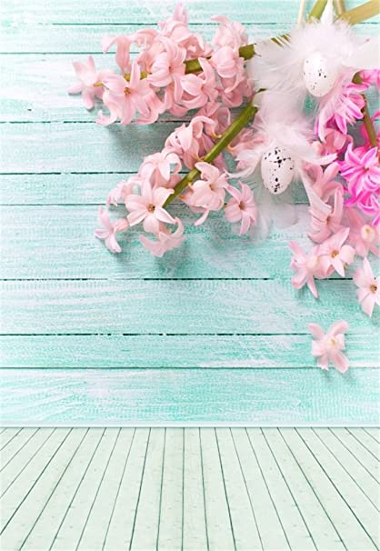 Laeacco 3x5ft Vinyl Photography Background Colorful Pink Hyacinths Flowers Decorative Easter Eggs Turquoise Wooden Background Blooming Blue Plank Wall