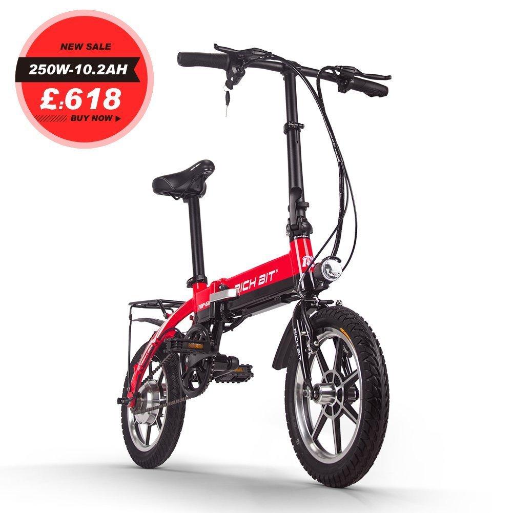 ミニ電動アシスト自転車 14インチ 折り畳むフレーム おしゃれ 電動アシスト自転車 B079BD63B9 レッド レッド