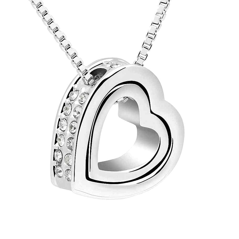 Silver Swarovski Elements Women's Crystal Heart Pendant Necklace , 17.7, with a Gift Box, White 17.7 Miki&Co X15724