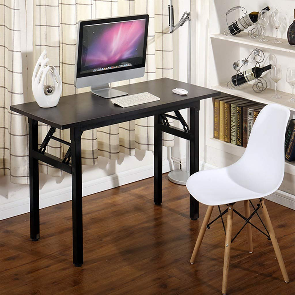 Vividen Desk Organizer - Folding Computer Desk Modern Simple Writing Table for Home Office Study 47'' Long Desk Workstation with Metal Legs and Adjustable Leg Pads (Wine)