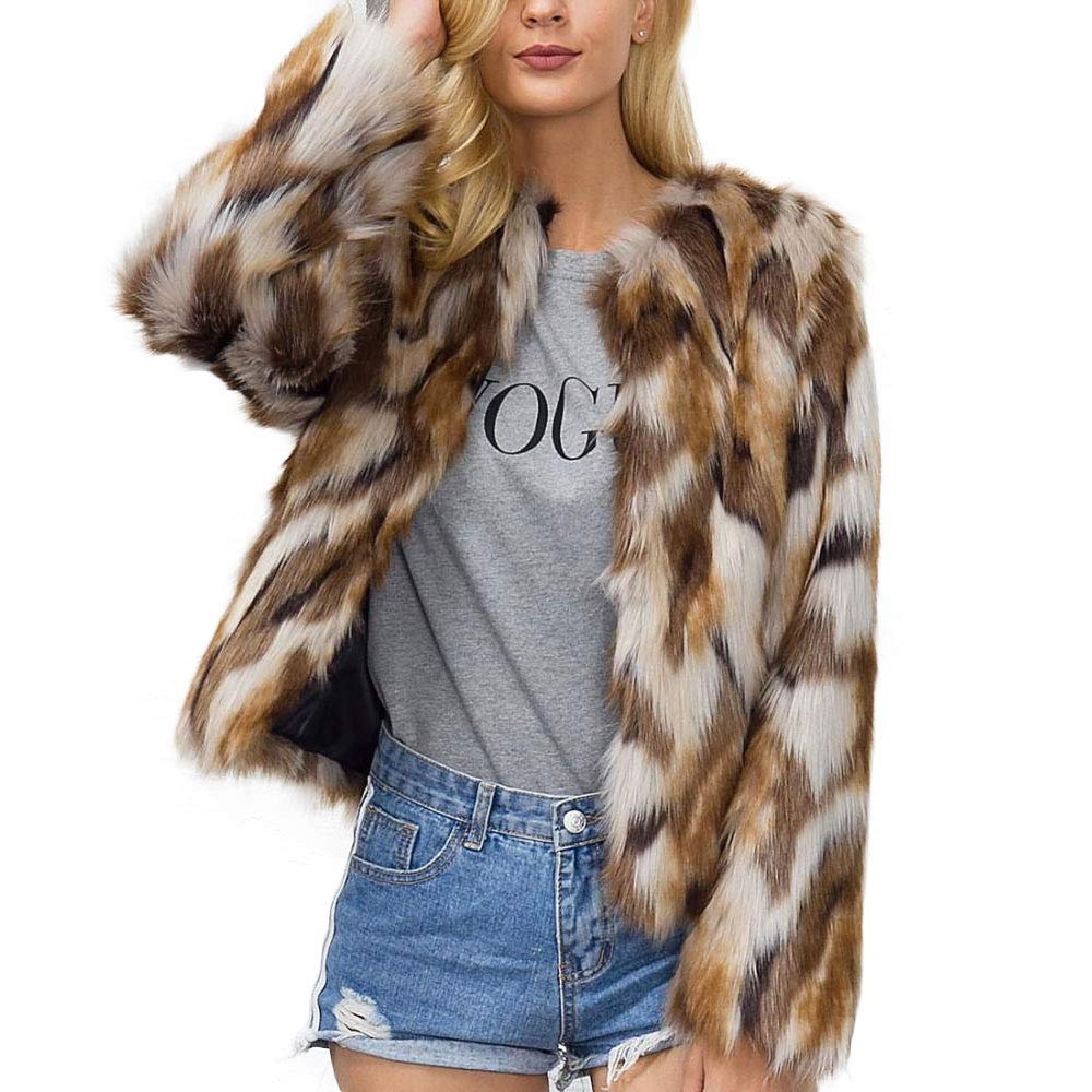 Shilanmei Women's Chic Fluffy Faux Fur Coat Winter Warm Jacket Cardigan Long Sleeve Outerwear Tops (Tag L = US 8/10)