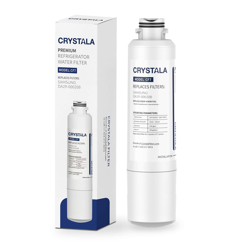 Crystala Filters DA29-00020B Water Filter Replacement for Samsung Refrigerators, Compatible with Samsung DA29-00020B, DA29-00020A, HAF-CIN, HAF-CIN/EXP, 46-9101, 1 Pack