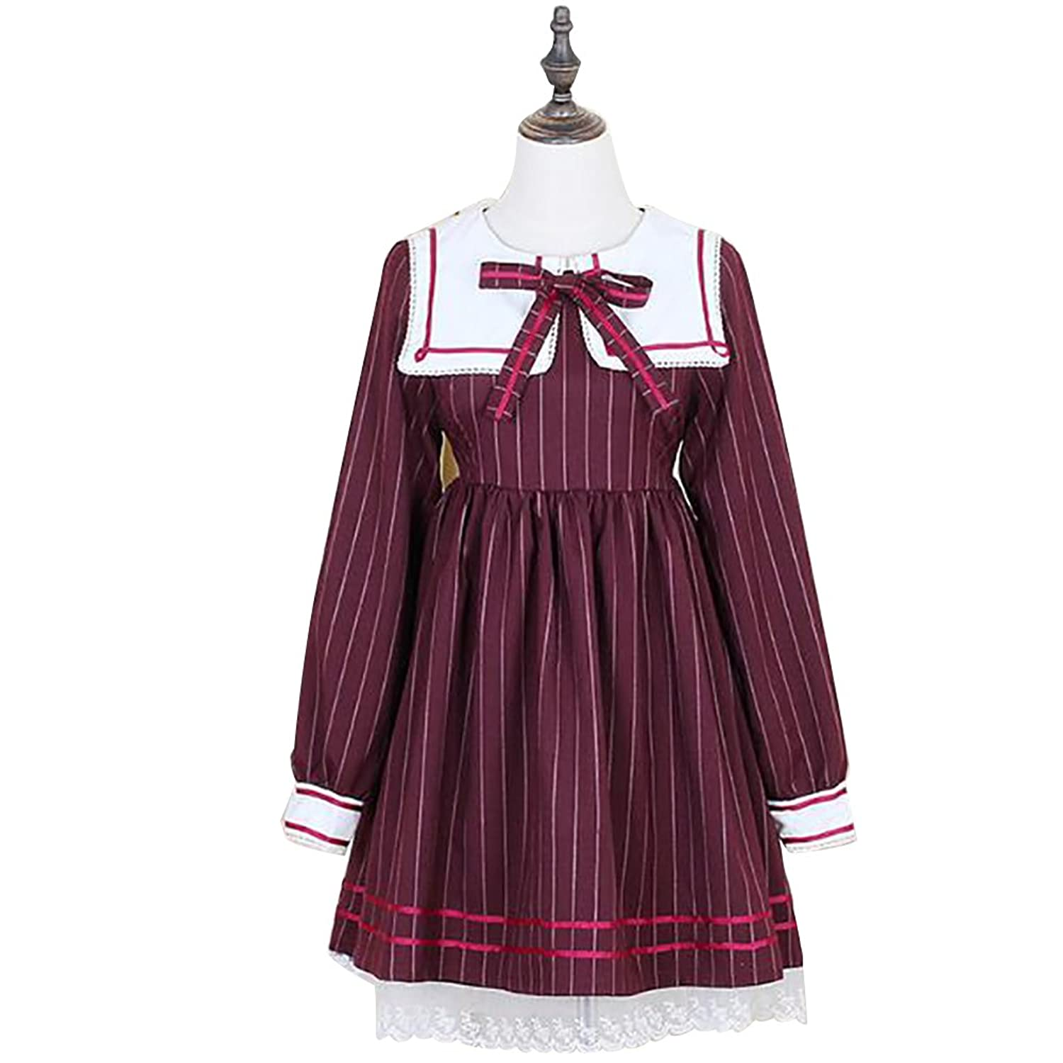 Vintage Style Children's Clothing: Girls, Boys, Baby, Toddler Japanese Harajuku School Girl Uniform Sailor Collar Striped Lolita Cosplay Dress $32.90 AT vintagedancer.com