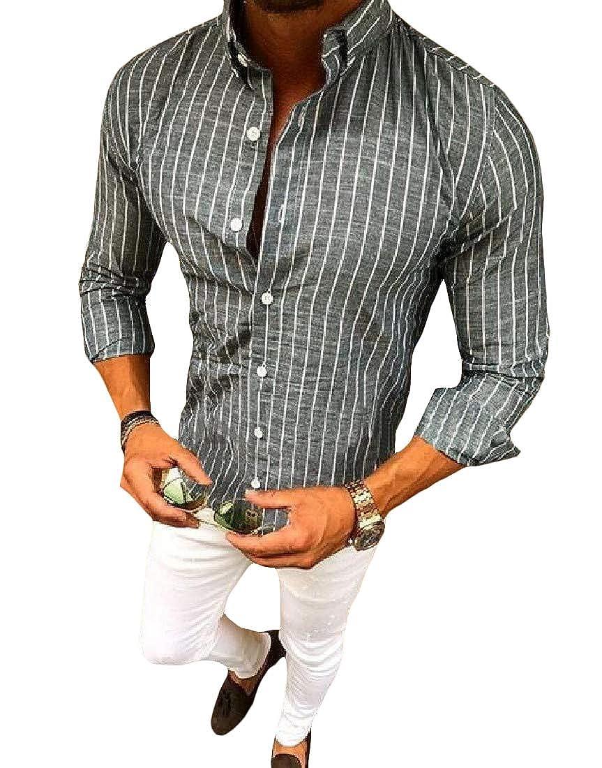 Hajotrawa Men Long-Sleeve Stripe Button Down Stand Collar Dress Shirts