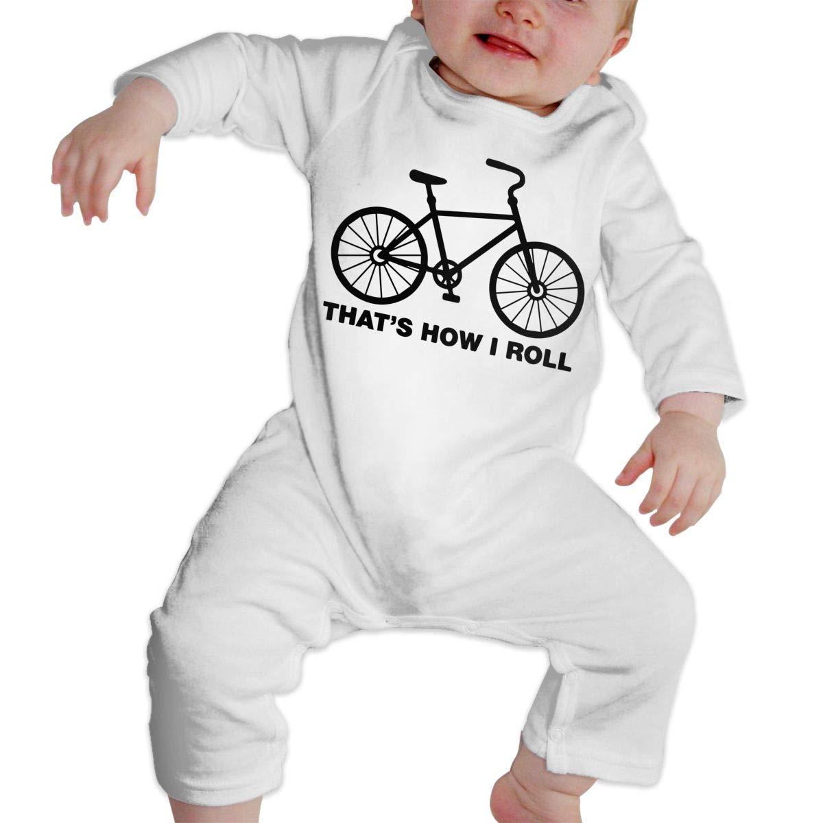 LBJQ8 Thats How I Roll Bike1 Newborn Kids Baby Boys Long Sleeve Romper Jumpsuit
