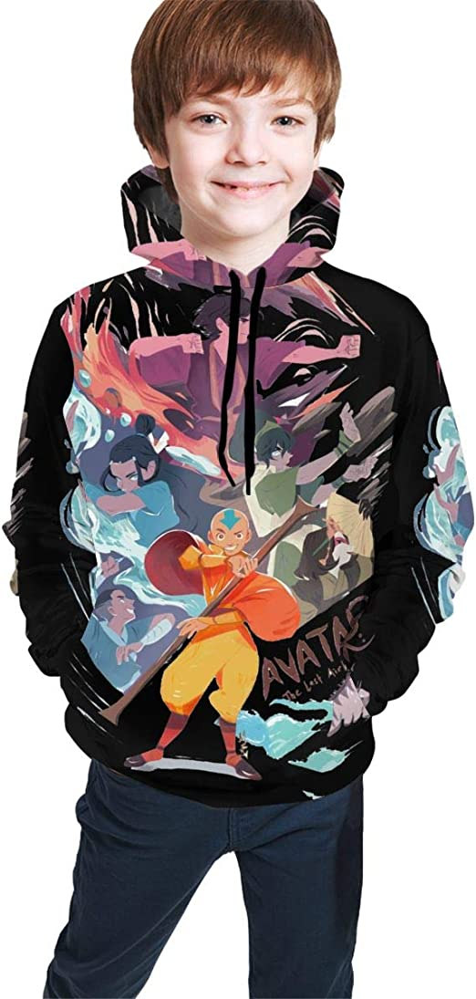 The Last Airbender Men Hoodies Fashion Long Sleeve Pocket Hooded Sweatshirts Black